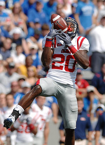 Ole Miss defensive back Johnny Brown picks off a Memphis pass during the first half.  After running the ball back nearly to the endzone, Brown fumbled the ball giving possession back to the Tigers.