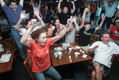Soccer fans gathered at Timeout Sports Cafe in Jackson erupt in celebration as Team USA appears to score late in the game during their World Cup match against Germany Friday morning. The jubilation was short-lived as closer revew showed that the shot had actually been just wide of the goal.