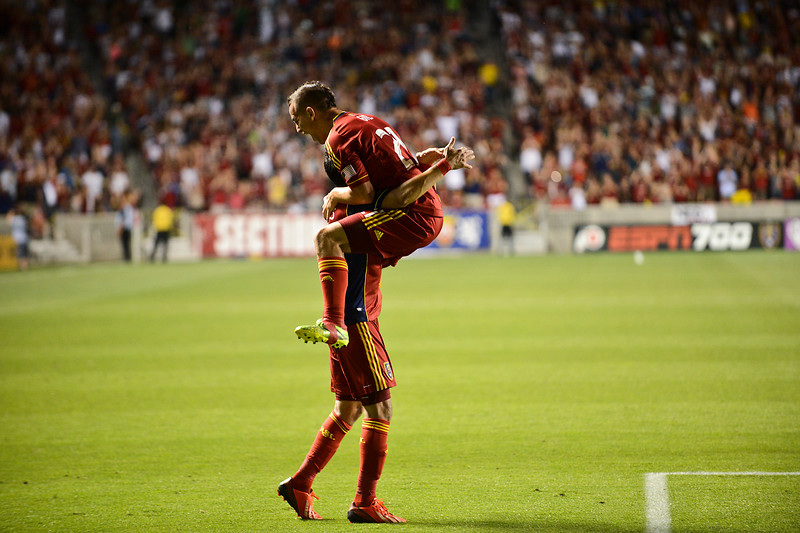 Luis Gil jumps into Lalo Fernadez after scoring a goal by headbuttimng the ball. At Rio Tinto in South Jordan. On July 3, 2013