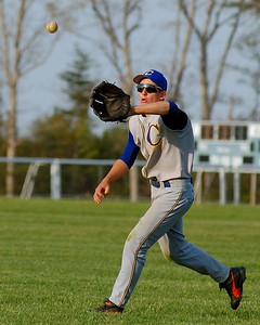Calverton HS right fielder grabs a shallow fly ball to closing out the forth inning