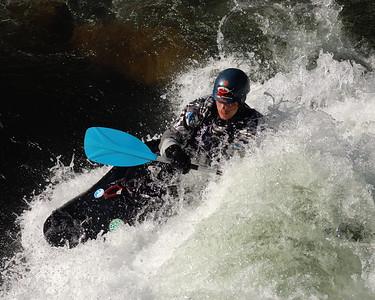 Cold water kayaking in December at the Nantahala Outdoors Center, Nantahala Gorge, NC