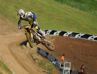 Ryan Dungey airs out his lead in the 450 class at HighPoint Raceway, Delmont, Pa