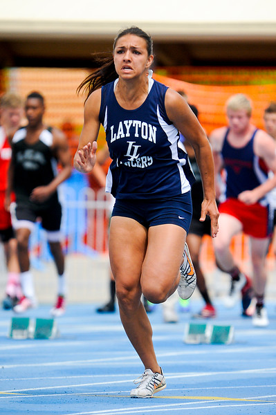 Eliza Katoa runs with determination during the Girl's 100 meter 5A. At BYU Robison Track Stadium in Provo, On May 18, 2013 (Brian Wolfer Special to the Standard-Examiner)