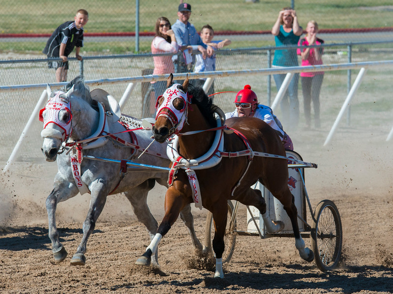 The OK Boys driver Josh Thuerer and gets ahead of the pack in the last heat of the 2015 Cutter and Chariot Racing World Championship. At the Weber County Fair Grounds in Ogden on March 29, 2015
