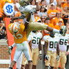 UAB's Jeffery Anderson leaps to catch a pass against Tennessee's Savion Frazier in Saturday's game at Neyland Stadium.  Photo by Bryan Lynn.