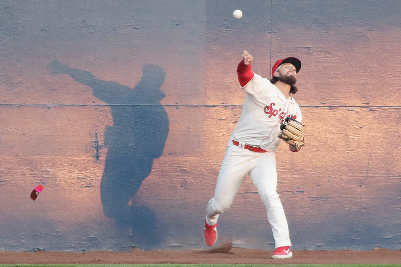 Spokane Indians outfielder Niko Decolati throws the ball after running it down during the fourth inning of an MiLB baseball game against the Eugene Emeralds at Avista Stadium in Spokane, Wash., Tuesday, May 4, 2021. (Young Kwak/The Inlander)