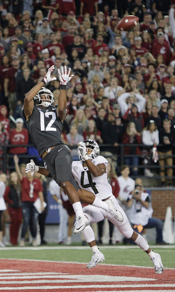 Washington State wide receiver Dezmon Patmon (12) catches a pass for a touchdown against Oregon cornerback Thomas Graham Jr. (4) during the second half of an NCAA college football game in Pullman, Wash., Saturday, Oct. 20, 2018. Washington State won 34-20. (AP Photo/Young Kwak)