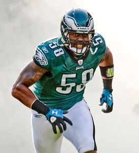 Philadelphia Eagles defensive end Trent Cole (58) at introduction before NFL action between the Washington Redskins and Philadelphia Eagles at Lincoln Financial Field in Philadelphia, Pennsylvania.