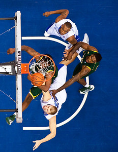 Seton Hall's forward Patrik Auda (33) battles Norfolk State's center Paulius Vinogradovas (32) for a rebound during a non-conference NCAA basketball game between the Seton Hall Pirates and the Norfolk State Spartans at the Prudential Center in Newark, New Jersey.