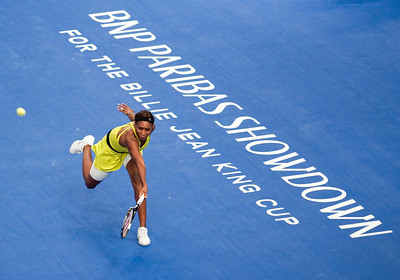 Venus Williams of USA won the 2010 BNP Paribas Showdown for the Billie Jean King Cup at Madison Square Garden in New York City.