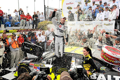Jimmie Johnson victory celebration at the NASCAR Sprint Cup Series Autism Speaks 400 at Dover International Speedway in Dover, DE.