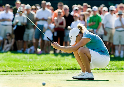 Cristie Kerr of U.S. reacts after missing a putt on the 15th hole during the final round at the 64th 2009 U.S. Women's Open Championship at Saucon Valley Country Club in Bethlehem, Pennsylvania.