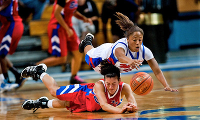 HS: Virginia State All-Star Sarah Williams dives for a loose ball during the 2011 Virginia State East and West Women's All-Star game. Sarah won MVP honors for the West Team.