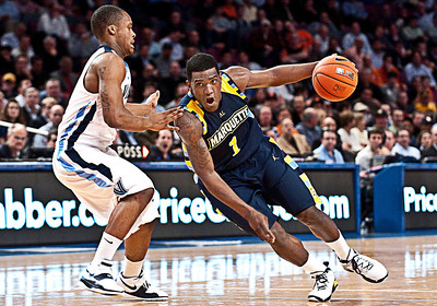 NCAA: Marquette's guard Darius Johnson-Odom (1) drives to the basket during the 2010 quarterfinals round Big East Tournament game against the Villanova Wildcats at Madison Square Garden in New York City.