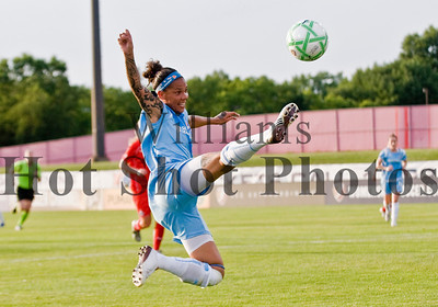Sky Blue's Natasha Kai (6) makes a score attempt during a Women's Professional Soccer game between the Sky Blue FC and the Washington Freedom at Yurcak Field in Piscataway, New Jersey.