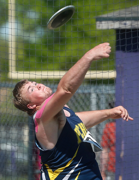 Powell County's Austin Forson competes in the class B boys discus throw during the Montana High School Association State A/B Track and Field Meet at Laurel High School on Friday, May 25, 2018. Forson took first place with a throw of 170 feet and 4 inches.