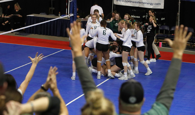 Billings Central reacts as they head to the championship game in the state volleyball tournament at Brick Breeden Fieldhouse at Montana State University in Bozeman on Friday, Nov. 9, 2018.