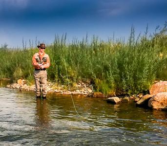 Flyfishing, Middle Fork of South Platte River, Santa Maria Ranch near Harstel, Colorado