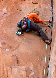 Rock Climber, near Colorado River, Moab, Utah