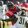 Ole Miss' DK Metcalf (14) catches the ball against the Vanderbilt Commodores at Ole Miss on October 14, 2017.
