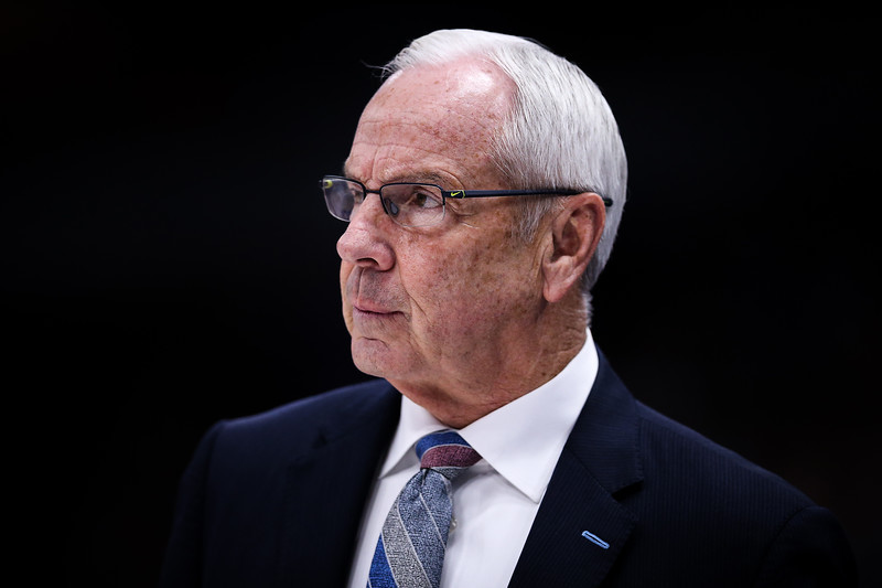 Head coach Roy Williams of the North Carolina Tar Heels looks on in the first half against the Kentucky Wildcats during the CBS Sports Classic at the United Center on December 22, 2018 in Chicago, Illinois.