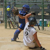 Clark U12 Girls Softball Regional Tournament.  An accurate throw from second base does not make it in time.