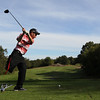 Salem High School senior Will Parr, tees off at Olde Salem Greens on Thursday afternoon. Parr, one of Salem's team captains had his right leg amputated above the knee when he was younger and only took up golf as a freshman in high school. Now Parr plays in the Witches' No. 3 slot and looks to lead them to a successful season. David Le/Staff Photo