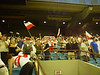 Poland's fans, smiling for the victory over South Korea, soccer championship, 2007, under 20, Olympic stadium, Montreal