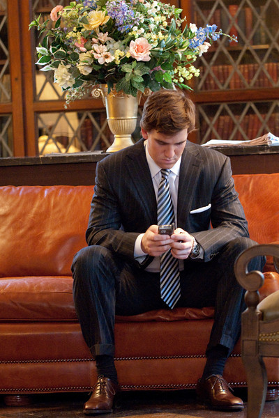 "March 10, 2008: Superbowl MVP and winning quarterback Eli Manning of the New York Giants pausing before attending ""An Evening with Eli Manning"" .  The event was sponsored by 1050 ESPN New York, an ESPN owned and operated radio station in NYC."