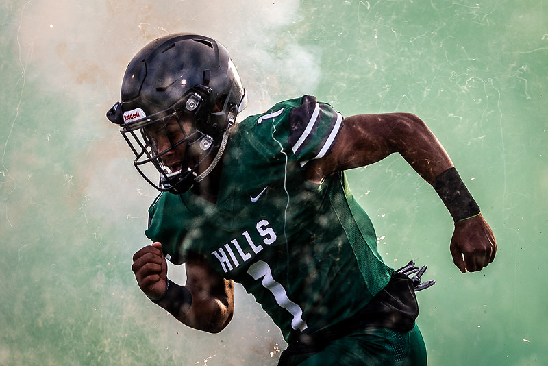 WanDale Robinson #1 of the Western Hills Wolverines takes the field before the game against the Franklin County Flyers on August 17, 2018 in Frankfort, Kentucky.