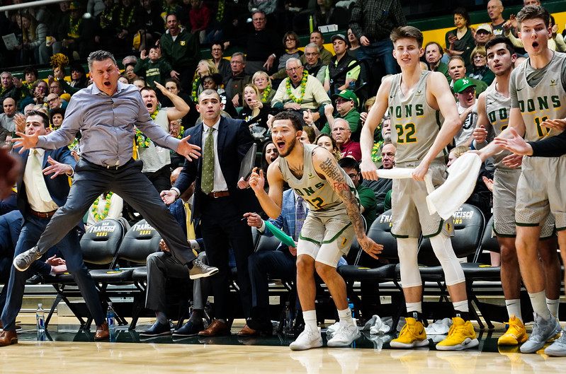 2/9/19: USF MBB vs SCU at War Memorial Gym in San Francisco, CA.  Image by Chris M. Leung for USF Dons Athletics