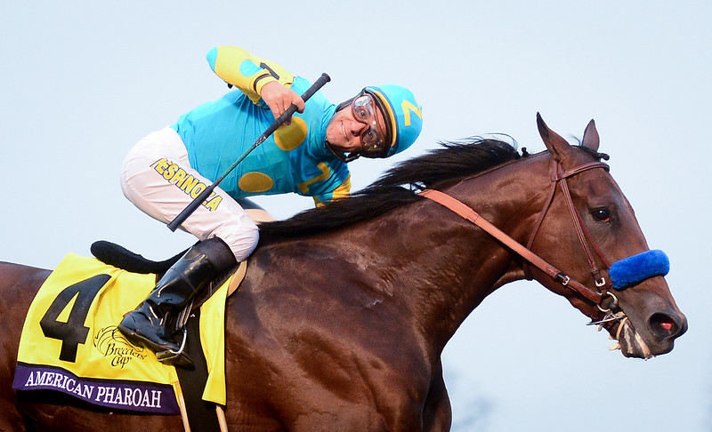 American Pharoah #4, ridden by Victor Espinoza wins the field during the Breeders' Cup Classic during day two of the Breeders' Cup at Keeneland Racecourse on October 31, 2015 in Lexington, Kentucky.