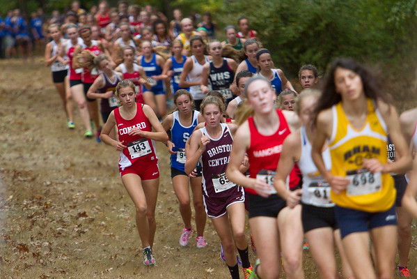 The lead pack of the Girls Varsity CIAC Connecticut Cross Country Championship took place at Wickham Park in Manchester, Wednesday afternoon.