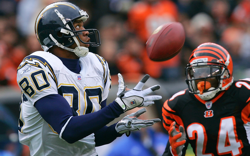 Chargers v Bengals. Malcolm Floyd catches a pass for a touchdown against Cincinnati.