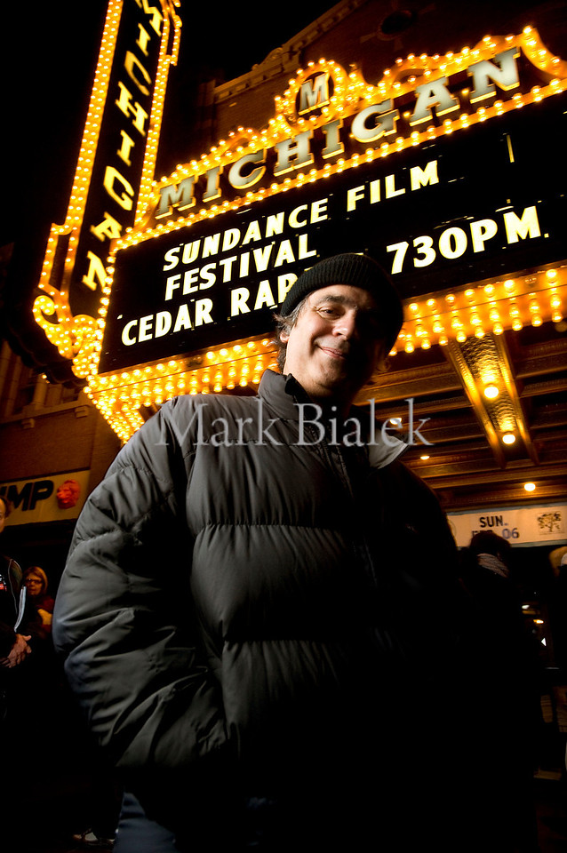 "Miguel Arteta, Director of the movie ""Cedar Rapids,"" poses in front of the Michigan Theater marquee in Ann Arbor, MI after the Sundance premier of Cedar Rapids on Jan 28, 2011.  Michigan's generous film tax incentives have lured filmmakers in recent years but new Michigan Governor Rick Snyder is proposing to replace the film tax incentive program with a $25 million cap on future film credits."
