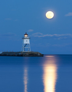 Moonrise On Grand Marais Harbor 2