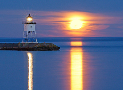 May Full Moon  Over Grand Marais Harbor