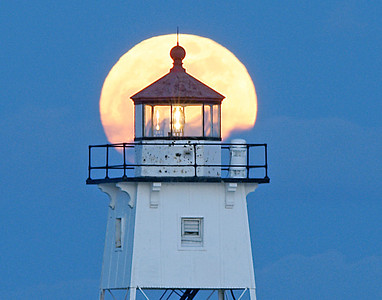 Moonrise Over Grand Marais Light