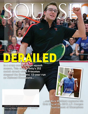 2012 Men's College Squash Association Team Championship Final: Reinhold Hergeth (Trinity) and Kelly Shannon (Princeton) - The moment of victory  Cover photo of Squash Magazine (February 2012)  Princeton Alumni Weekly - March 21, 2012   Published again on page 11 pf the March 2017 Squash Magazine (Five Year Anniversary)   Published again on page 25 of the October 2017 Squash Magazine