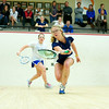 2011 Howe Cup: Chelsea Ross (Franklin & Marshall) and Claire Corroon (Hamilton)<br /> <br /> This photo was published in the March 2011 issue of Squash Magazine (page 35).
