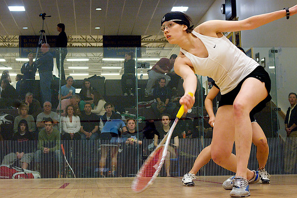 Pamela Chua (Stanford) and Valeria Wiens (Dartmouth)<br /> <br /> This photo was published in the October 2010 issue of Squash Magazine (page 39).