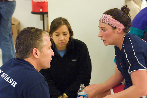 Penn's Jack Wyant coaching<br /> <br /> This photo was published in the December 2009 issue of Squash Magazine (page 31).