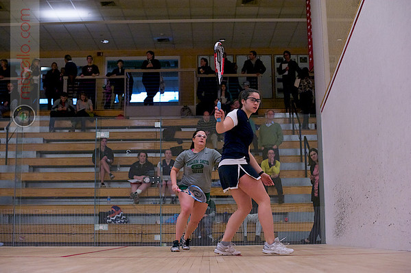 2012 Women's National Team Championships (Howe Cup): Szilvi Kiss (Smith College) and Molly Doran (William Smith)<br /> <br /> Published on page 38 of Squash Magazine (March 2012)