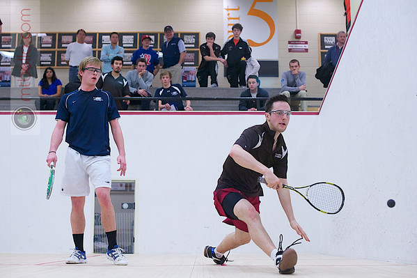 2012 Men's College Squash Association National Team Championships: Jay Dolan (Middlebury) and Kyle Ogilvy (St. Lawrence)<br /> <br /> Published on pages 32 - 33 of Squash Magazine (October 2012)