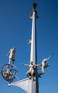 Statuen am Kai, Meersburg, Bodenseekreis, Tübingen, Baden-Württemberg, Deutschland