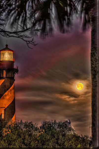 St. Augustine Lighthouse Moon Set at Nautical Twilight