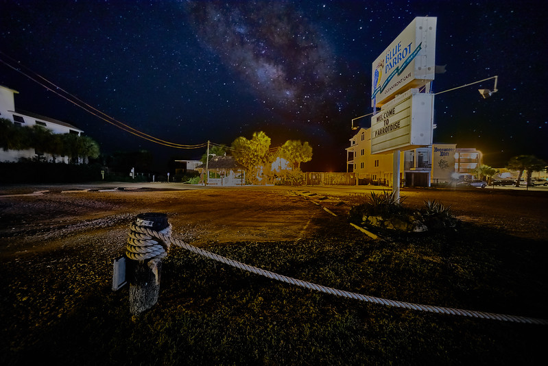 Milky Way over The Blue Parrot Cafe on St. George Island Fl.