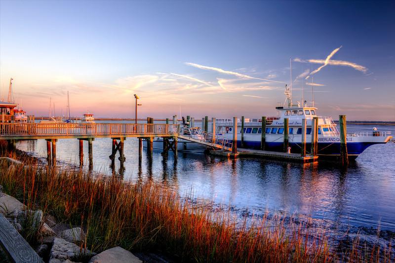 Cumberland Queen Dockside reverse sunset.