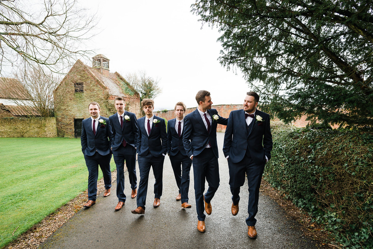 Groom arriving at The Coach House, Delbury Hall. Shropshire.