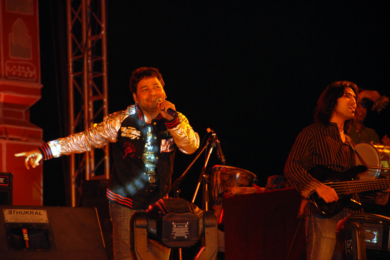 Kailash Kher weaving his magic onstage with his music and moves at Rajasthan Diwas in Jaipur.<br /> <br /> Kailash Kher is an Indian singer of popular sufi music. He has risen to fame with a series of hits with his band, named Kailasa. <br /> <br /> Every year in the month of March, Rajasthan celebrates its foundation day. Rajasthan Diwas is the day of the unification of erstwhile princely states and the state of Rajasthan. Organized by the Rajasthan Tourism Department, the festival features traditional and rural sports like kho-kho, camel cart races and elephant polo. 'Run for Rajasthan' is the highlight of the Rajashtan Diwas in which 32 torches are lit and brought to Jaipur by runners. As part of the festivities, local bazaars of Jaipur remain open late into the night and it offer interesting local textiles and handicrafts.